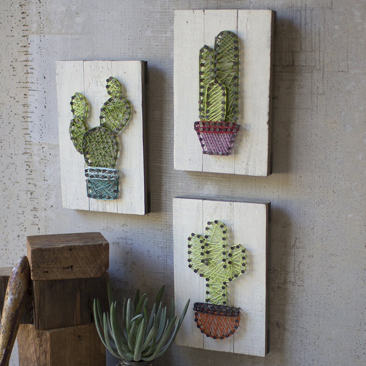 3 Piece Ceramic Flowers Wall Decor Sets In Most Recent 3 Piece Cactus String Art On Wooden Plaques Wall Décor Set (View 3 of 20)