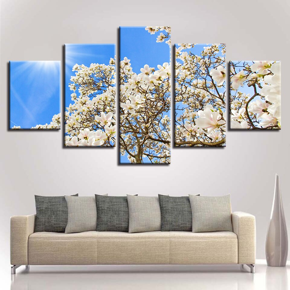 3 Piece Magnolia Brown Panel Wall Decor Sets Throughout Latest Art Canvas Painting Style Wall Modular Pictures 5 Panel Magnolia (View 4 of 20)