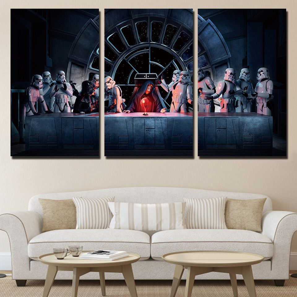3 Piece Star Wall Decor Sets Throughout Well Known 3 Pieces Star War Storm Trooper Poster Hd Canvas Printed (Gallery 1 of 20)