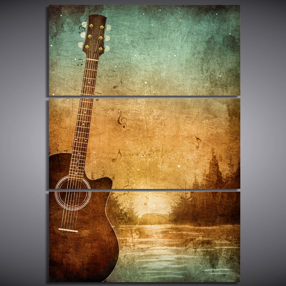 3 Piece Star Wall Decor Sets With 2020 3 Piece Printed Canvas Wall Art Acoustic Guitar Poster Wall Art (View 17 of 20)