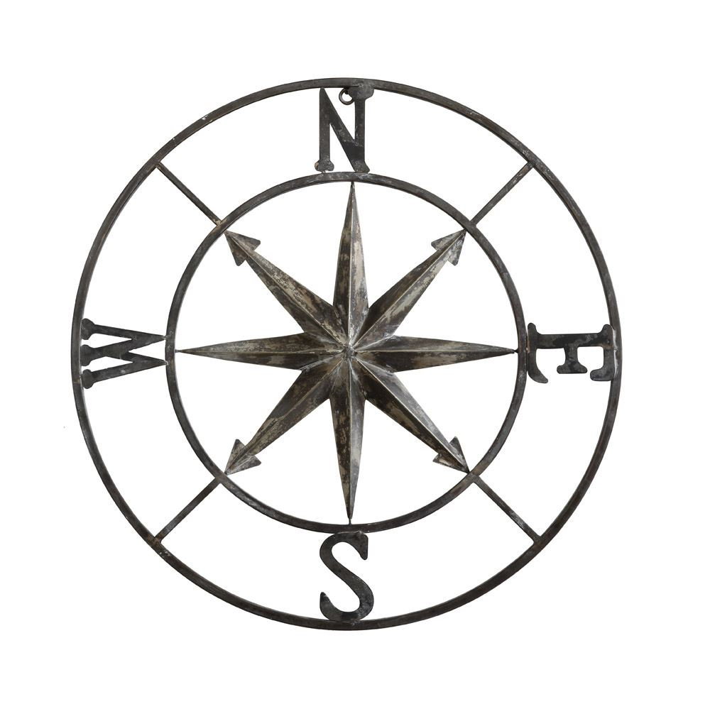 """30"""" Round Metal Compass Wall Decor Within Best And Newest Round Compass Wall Decor (Gallery 3 of 20)"""