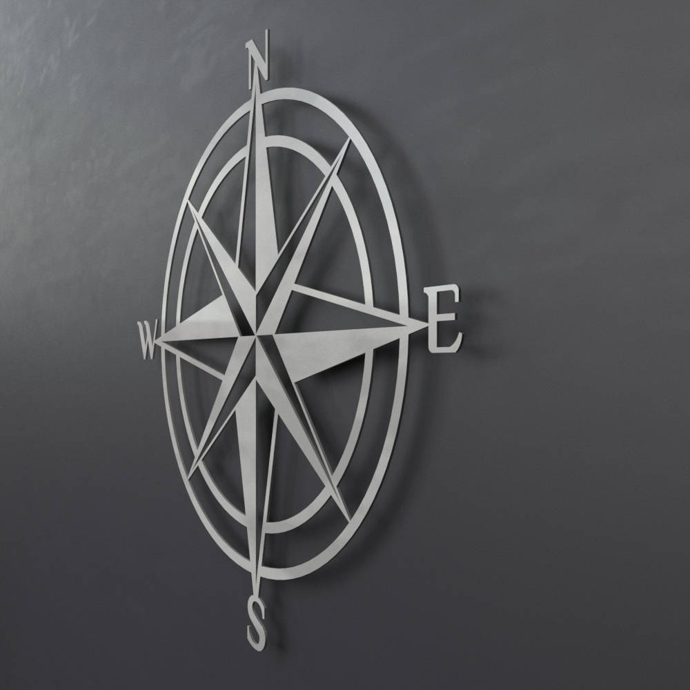 3D Compass Metal Wall Art, Nautical Rose Compass, Large Metal Wall For Recent Outdoor Metal Wall Compass (Gallery 11 of 20)