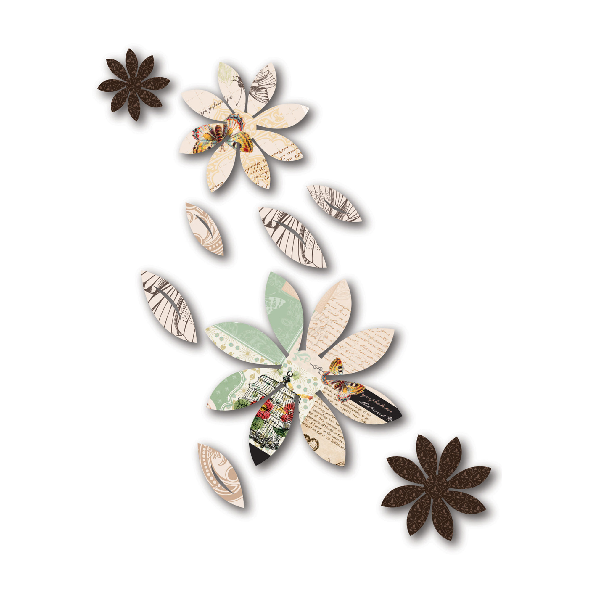 3D Wall Decor Brown Flowers With Mariposa Print, 9-Piece - Walmart with regard to Trendy Mariposa 9 Piece Wall Decor