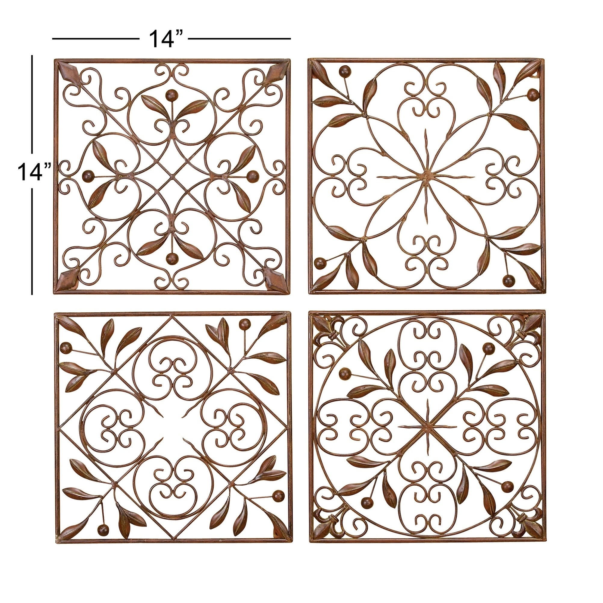 4 Piece Metal Wall Plaque Decor Sets With Regard To Current Shop Set Of 4 Traditional Floral Scrollwork Metal Wall Decor (Gallery 7 of 20)