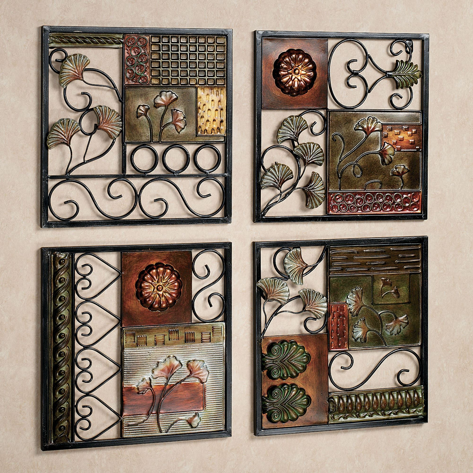 4 Piece Metal Wall Plaque Decor Sets With Regard To Most Current Dusk And Dawn Metal Wall Art Set (View 3 of 20)