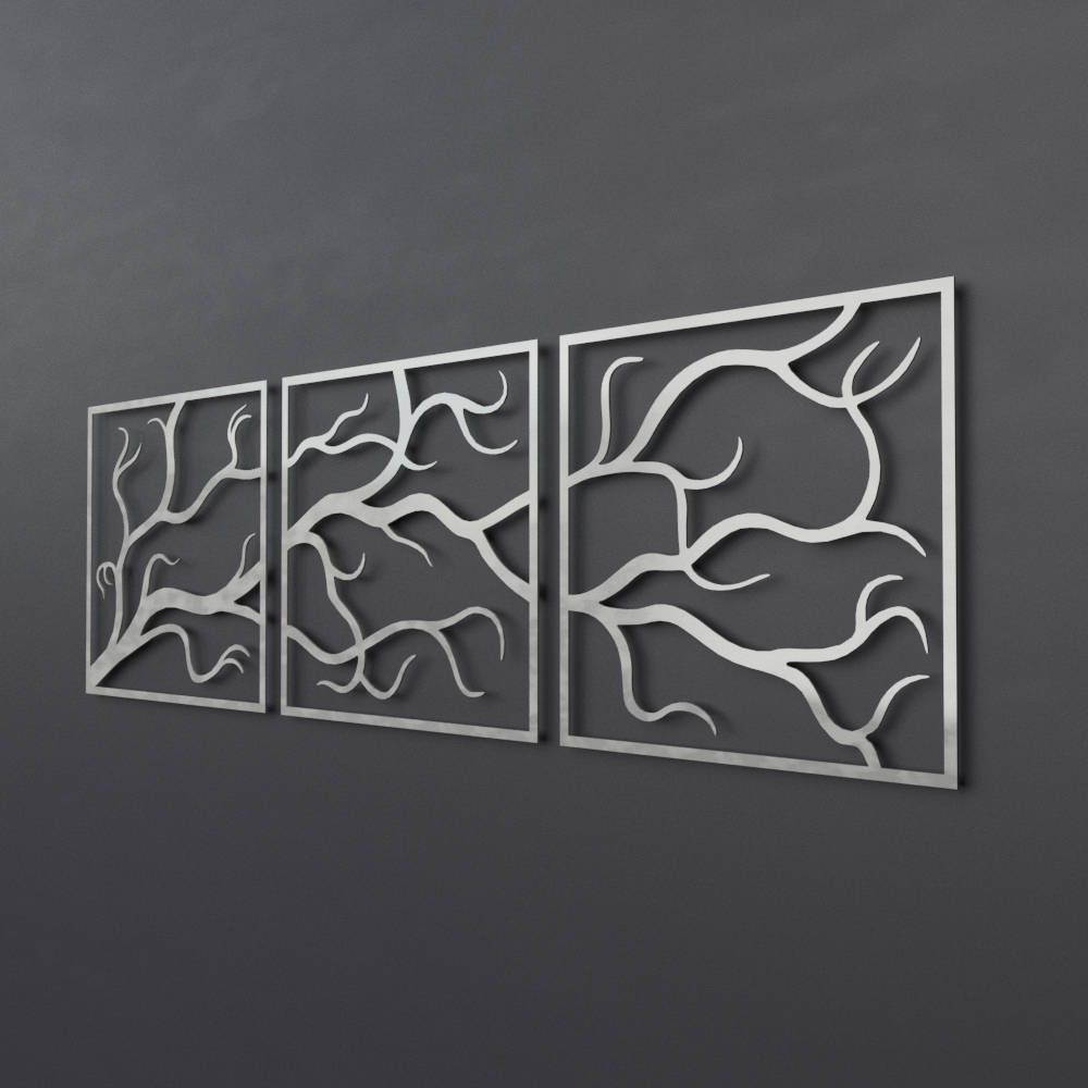 4 Piece Metal Wall Plaque Decor Sets Within Newest 3 Piece Metal Tree Branch Wall Art, Large Metal Wall Art Sculpture (View 17 of 20)