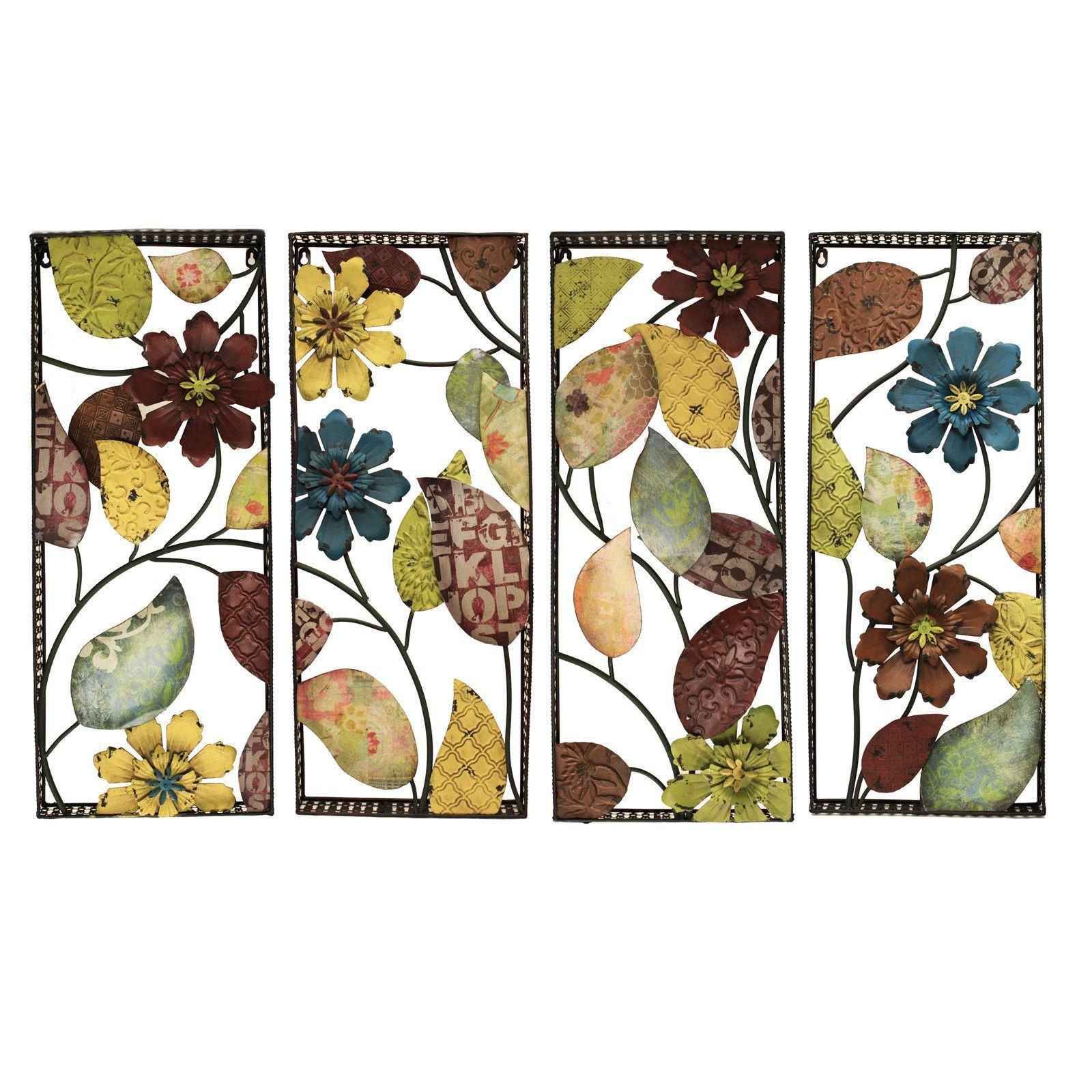 4 Piece Urban Designs Pop Art Flowers Wall Décor Set (View 3 of 20)