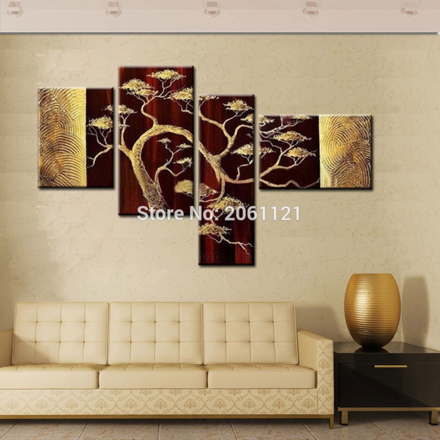 4 Piece Wall Decor Sets Inside Well Known Hand Painted 4 Piece Sets Modern Abstract Golden Brown Oil Painting (Gallery 1 of 20)