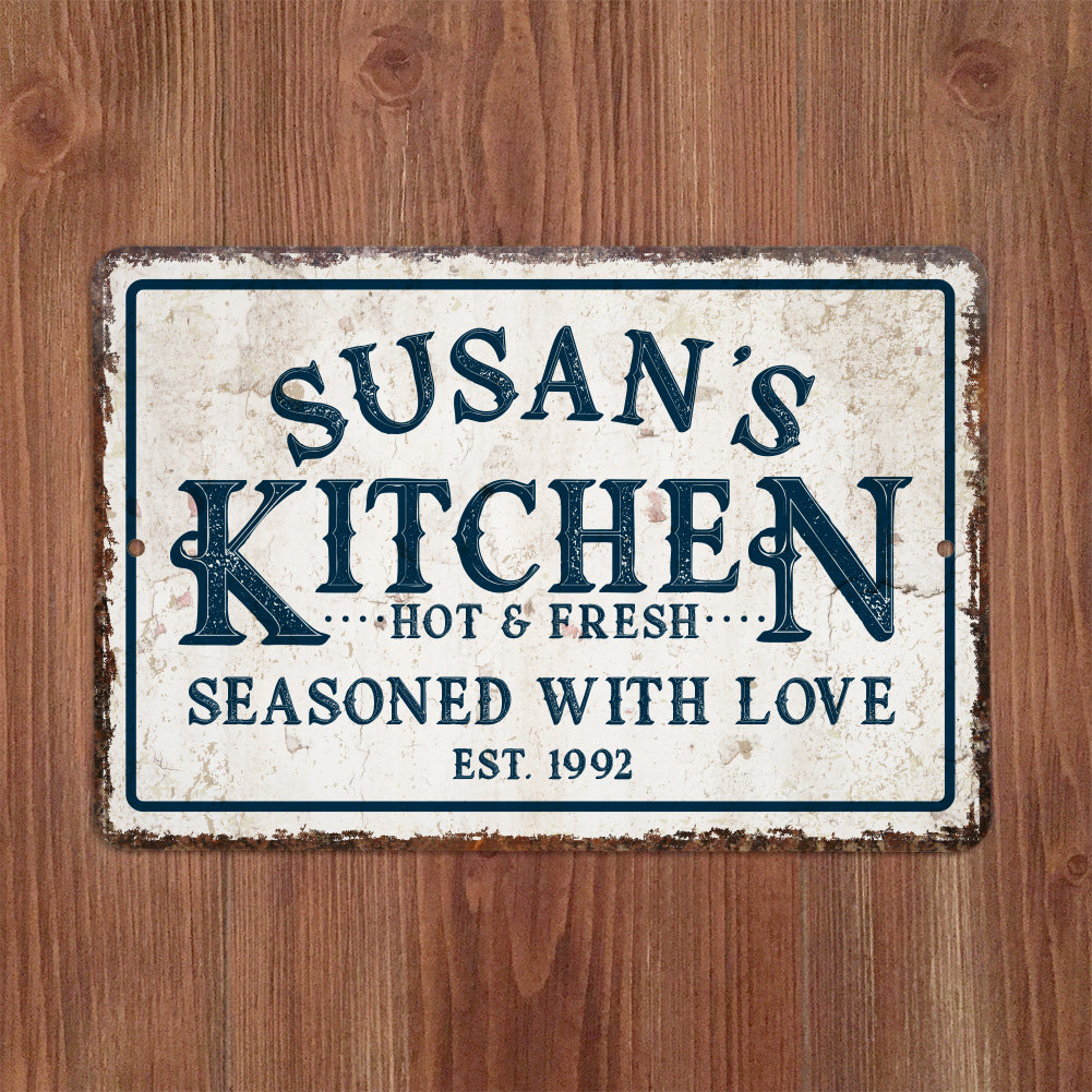 Featured Photo of Personalized Distressed Vintage-look Kitchen Metal Sign Wall Decor