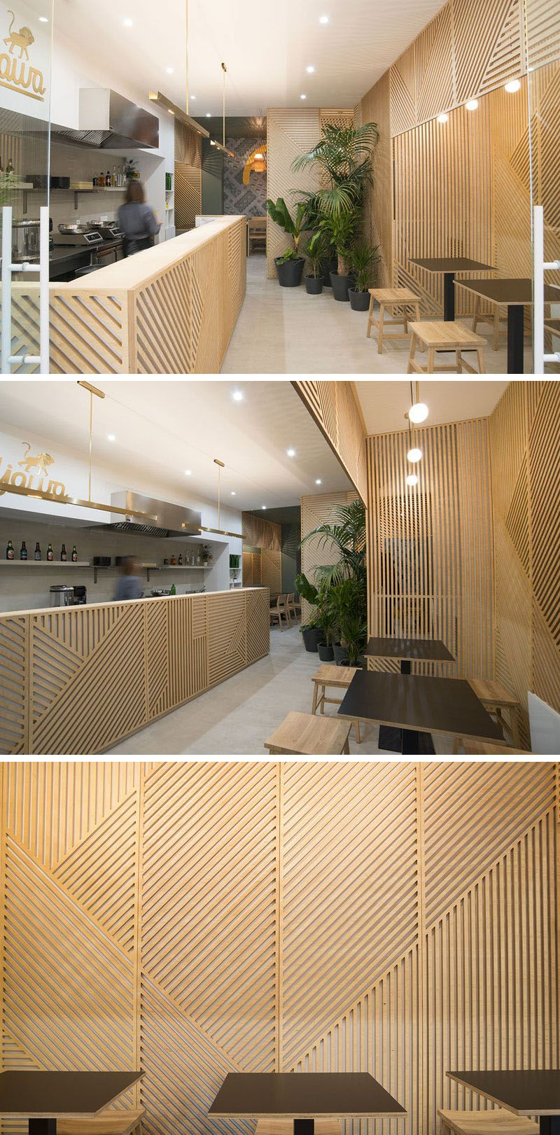Abstract Bar And Panel Wall Decor For Preferred Wall Decor Idea – This Restaurant Covered Its Walls With Wood Panels (View 4 of 20)