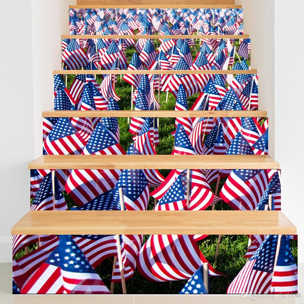 America Flag 3D Stairway Stickers Stairs Stickers Fall Floor In Most Recent American Flag 3D Wall Decor (View 7 of 20)