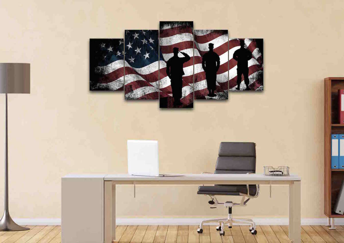 American Pride 3D Wall Decor For Most Recently Released American Flag And Us Army Marines Soldiers Wall Art Canvas Painting (View 3 of 20)