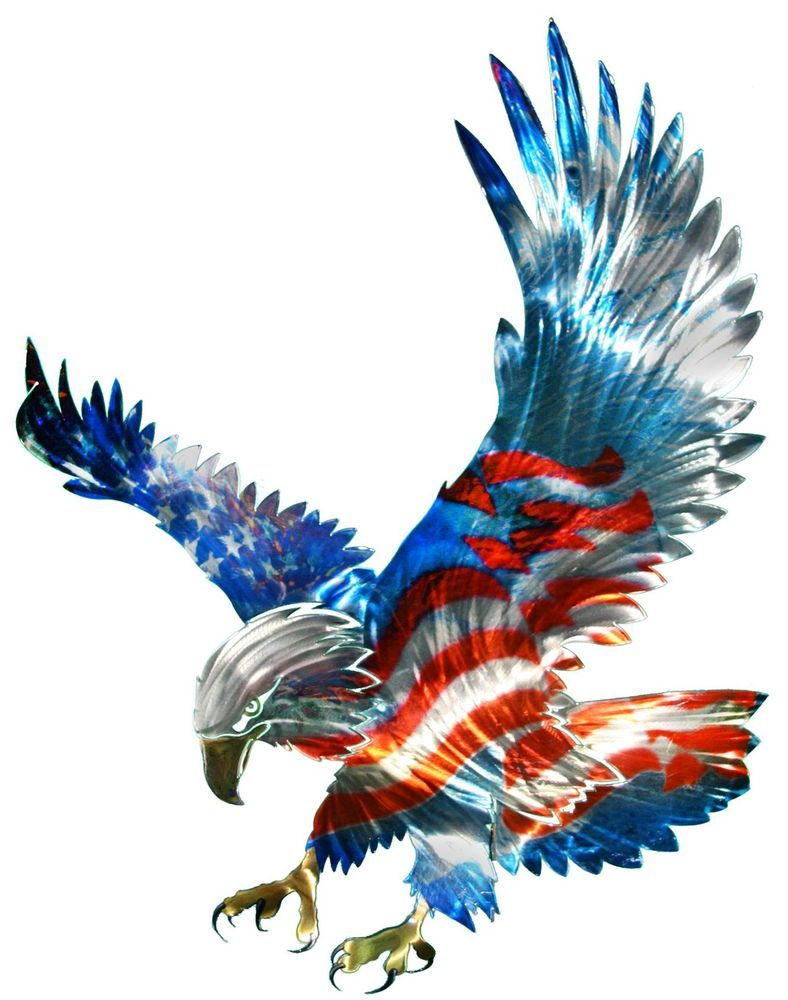American Pride 3D Wall Decor Throughout Most Recent New Large American Flag & Bald Eagle Metal Wall Art Patriotic Decor (View 5 of 20)