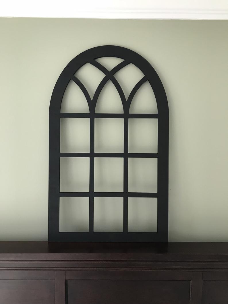Arched Farmhouse Frame In Flat Black Paint Faux Window (View 7 of 20)