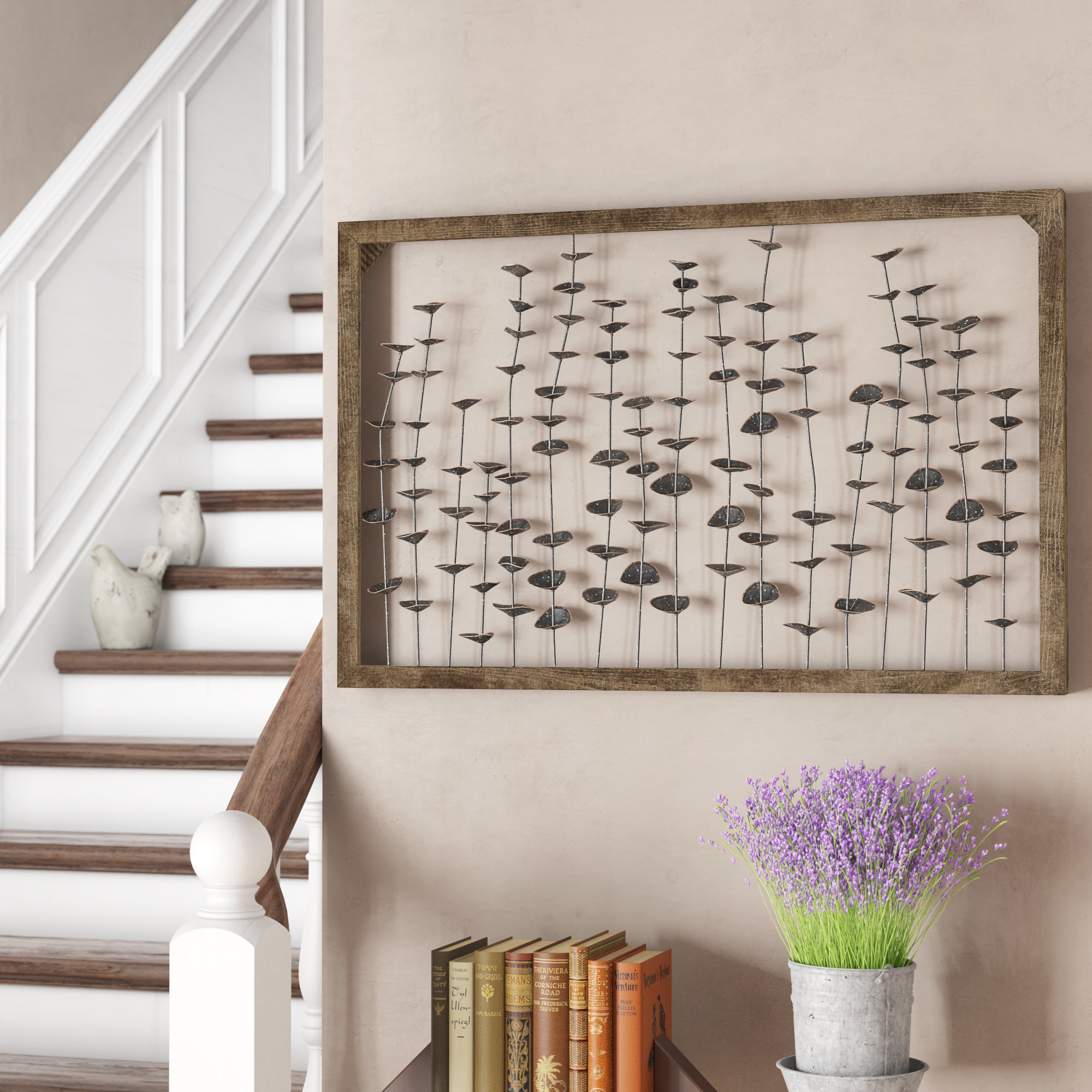 August Grove Framed Metal Flower Leaves Sculpture Wall Art Farmhouse Intended For Fashionable Leaves Metal Sculpture Wall Decor (View 3 of 20)