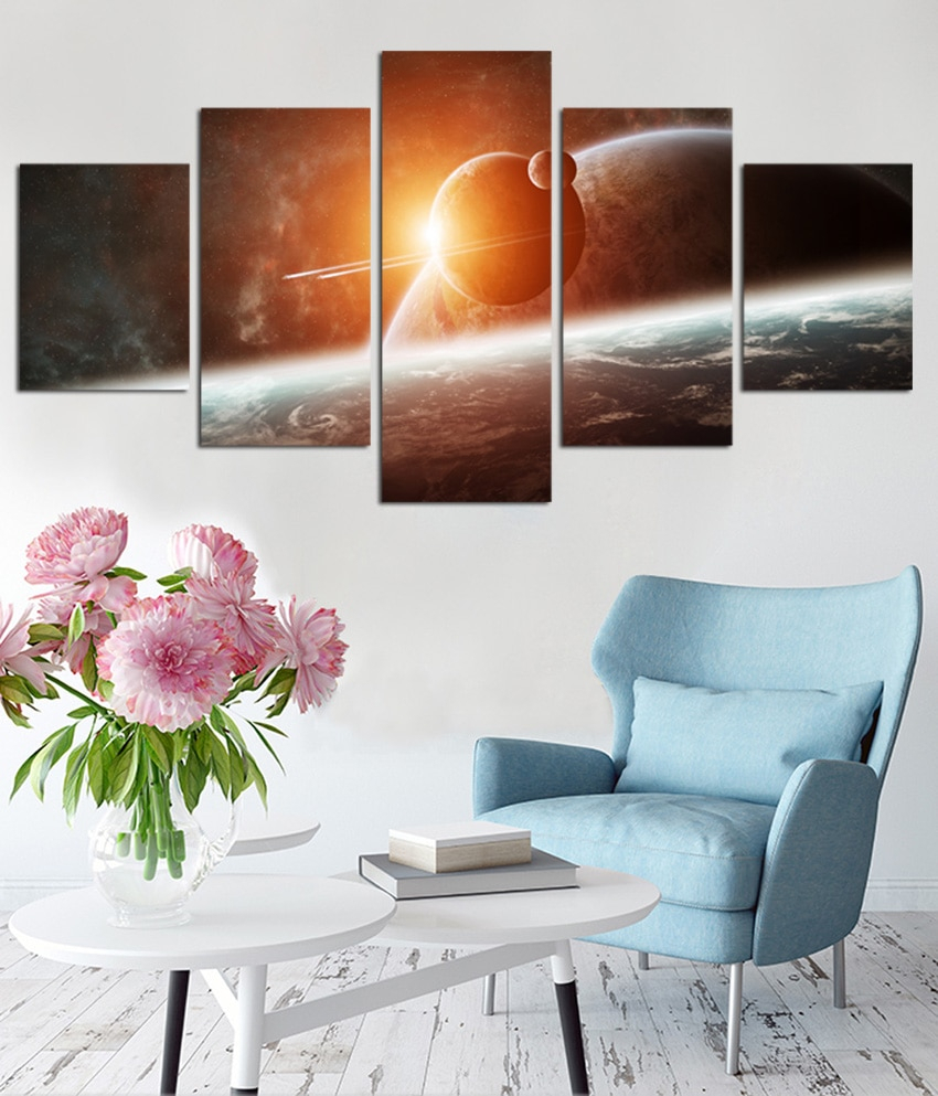 Aurora Sun Wall Decor Throughout 2019 5 Panel Wall Art Aurora Borealis Painting Home Decor Canvas Picture (View 10 of 20)