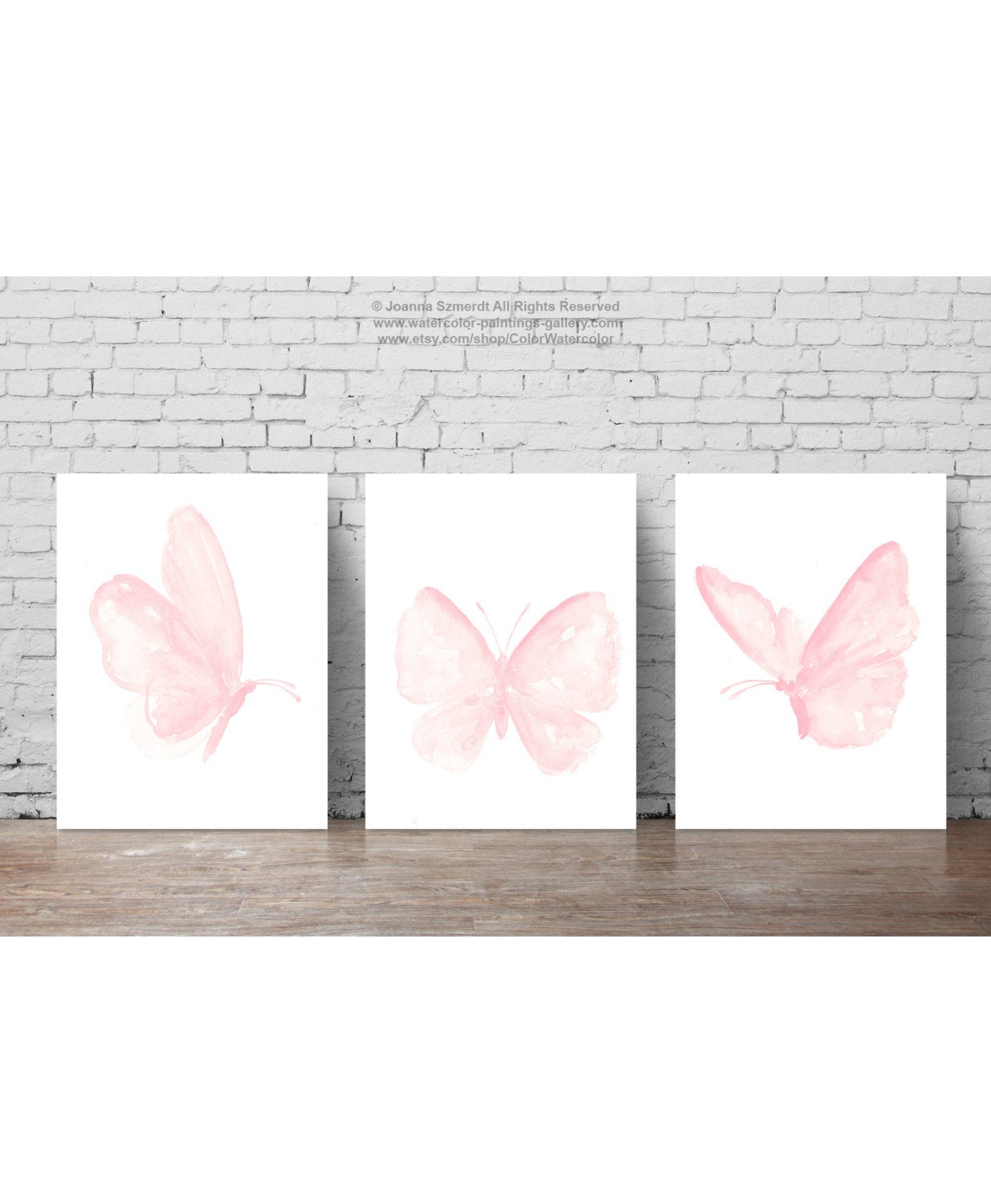 Baby Pink Butterfly Paintings Set Of 3 Butterflies Art Print (View 6 of 20)