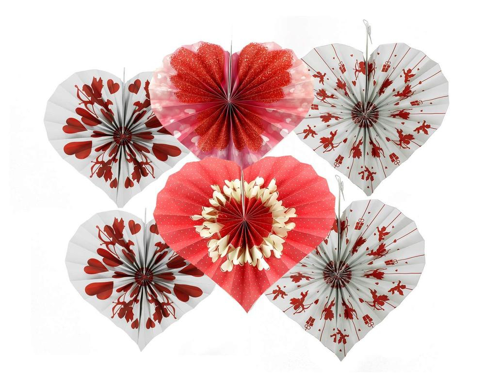 Best And Newest 6Pc Valentines Day Red White Cupid Heart Shaped Hanging Fans Party With Regard To 2 Piece Heart Shaped Fan Wall Decor Sets (Gallery 5 of 20)