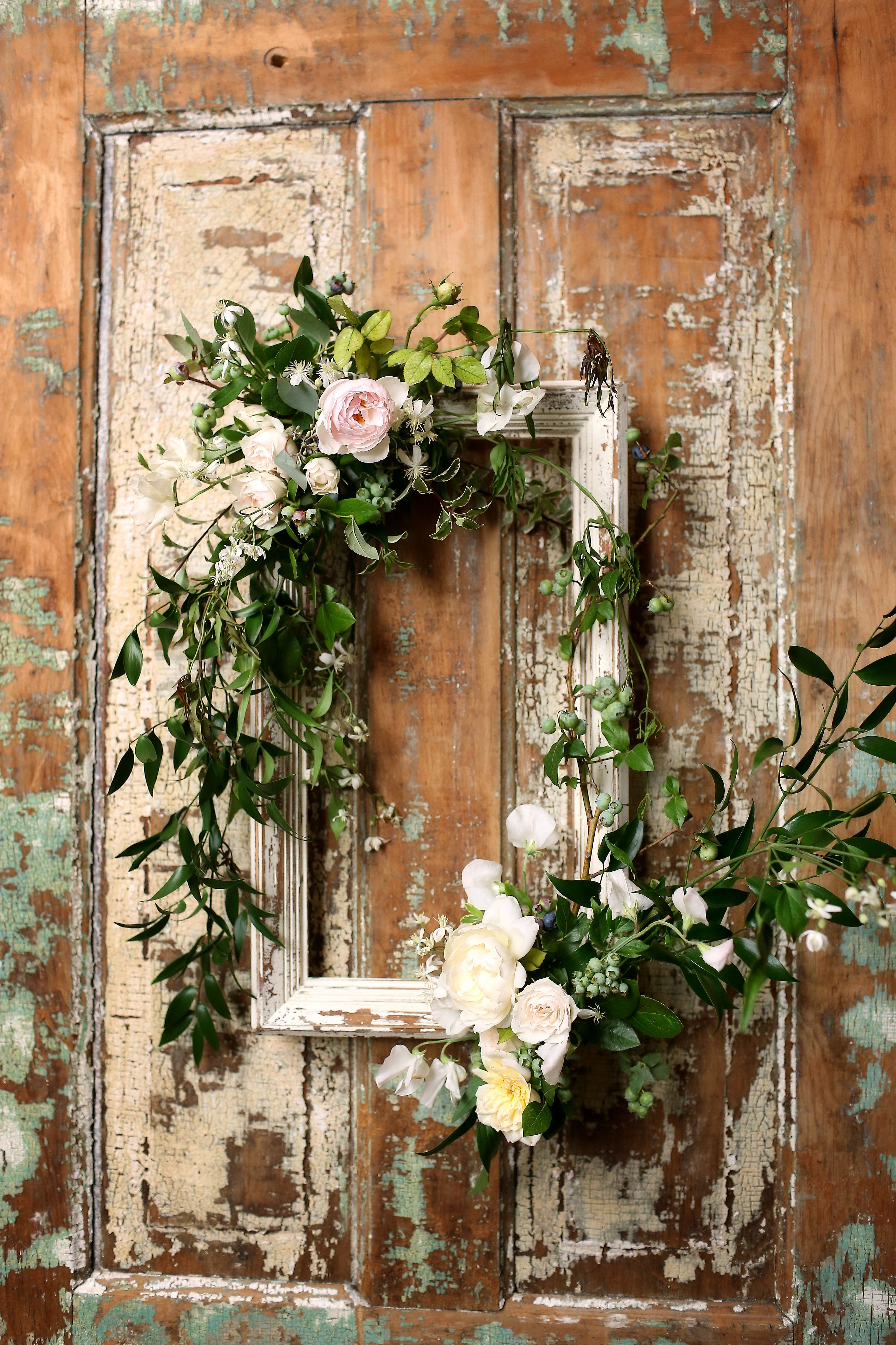 Best And Newest Floral Wreath Wood Framed Wall Decor For Wooden Frame With Vines And Pink Roses (View 4 of 20)