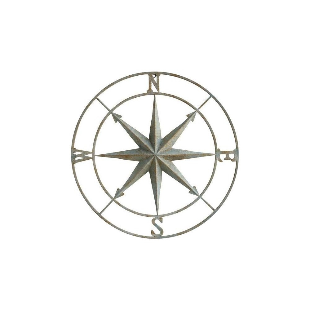 Best And Newest Round Compass Wall Decor Inside Round Metal Compass Wall Decor – Blue In  (View 4 of 20)