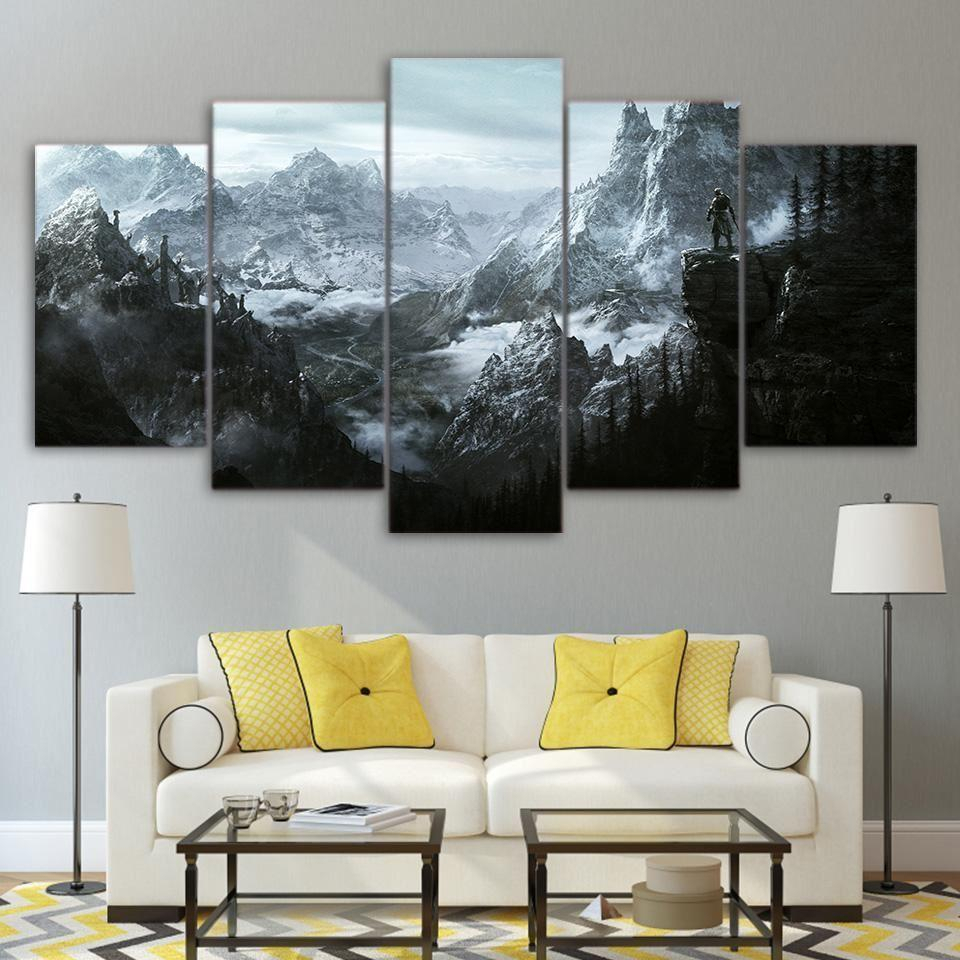 Best And Newest Scroll Panel Wall Decor Inside Elder Scrolls V Skyrim – Gaming 5 Panel Canvas Art Wall Decor (View 14 of 20)