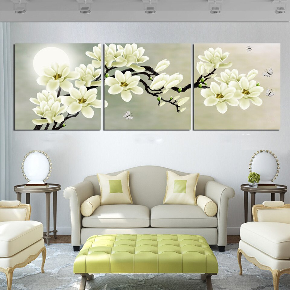Best And Newest Unframed Modern Home Decoration Wall Decor Art Picture White Within 3 Piece Magnolia Brown Panel Wall Decor Sets (View 5 of 20)