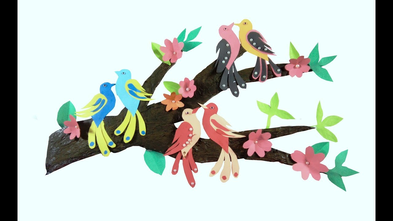 Birds On A Branch Wall Decor Pertaining To Preferred Wall Decor With Tree Branches / Wall Decoration With Birds / Diy (Gallery 15 of 20)
