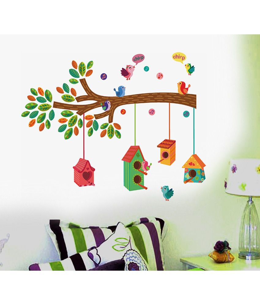 Birds On A Branch Wall Decor Pertaining To Well Liked Stickerskart Nursery Colourful Bird House On A Branch Wall Decor (View 12 of 20)