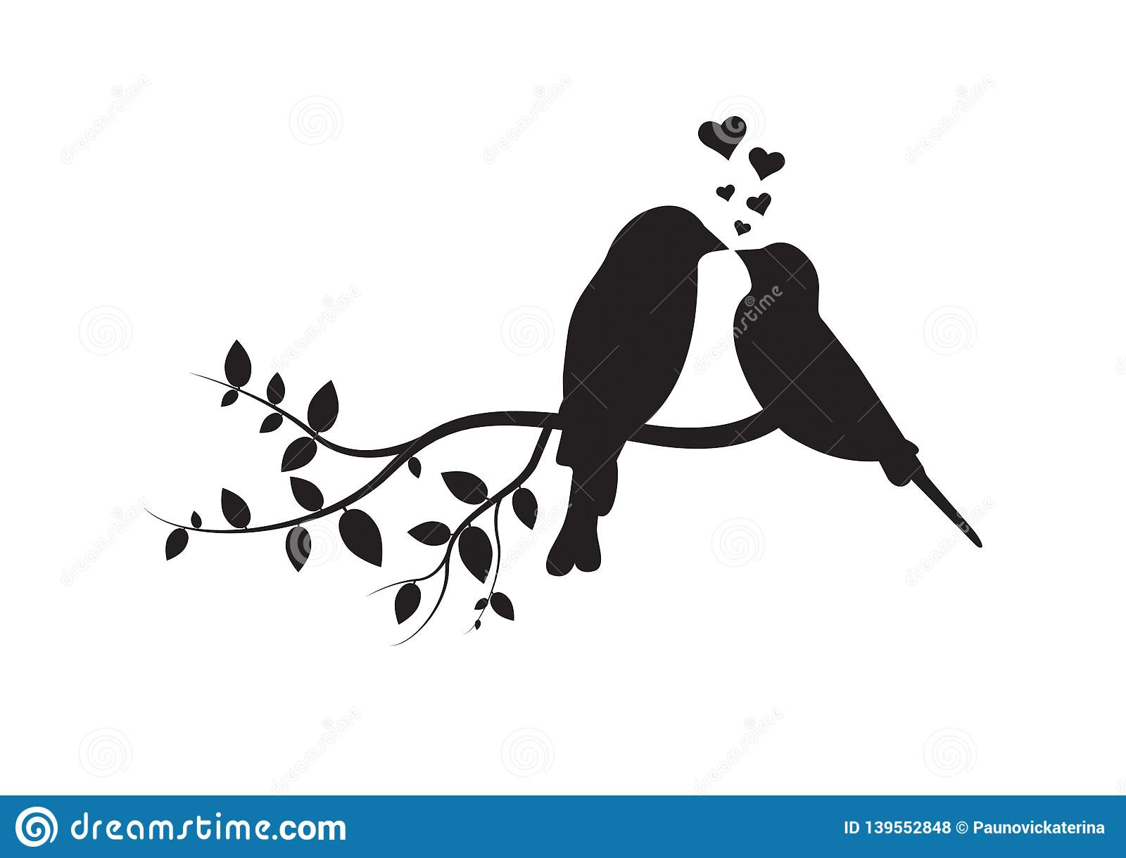 Birds On Branch, Wall Decals, Couple Of Birds In Love, Birds Intended For Most Up To Date Birds On A Branch Wall Decor (View 16 of 20)
