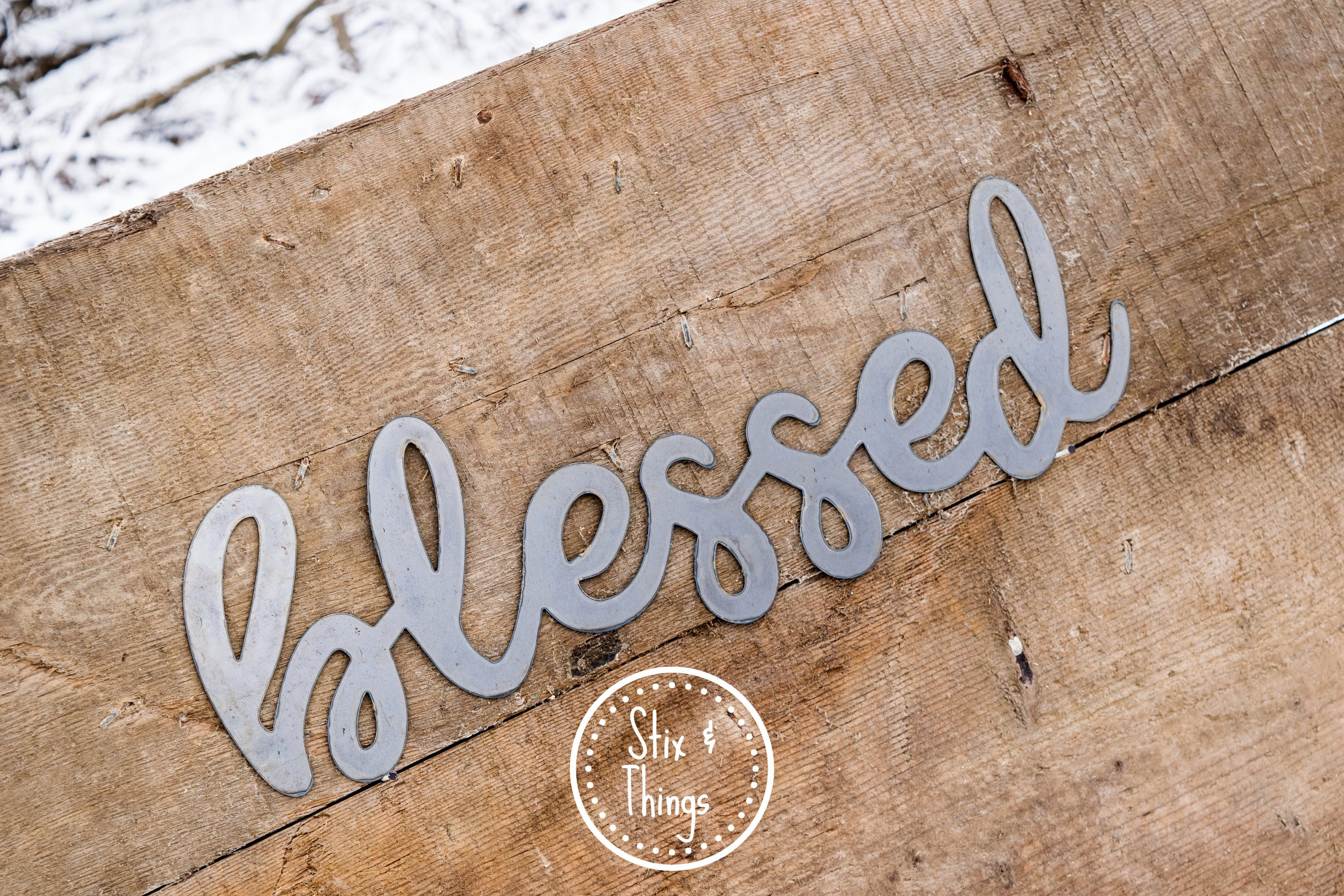 Blessed Steel Wall Decor In Favorite Blessed Handwritten, Cursive, Metal Word Sign 12, 18, 24, 36 Or (View 7 of 20)