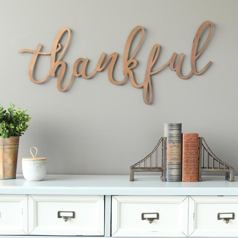 """Blessed Steel Wall Decor Pertaining To Newest Stratton Home Decor Bronze """"thankful"""" Script Decorative Sign Wall (Gallery 17 of 20)"""