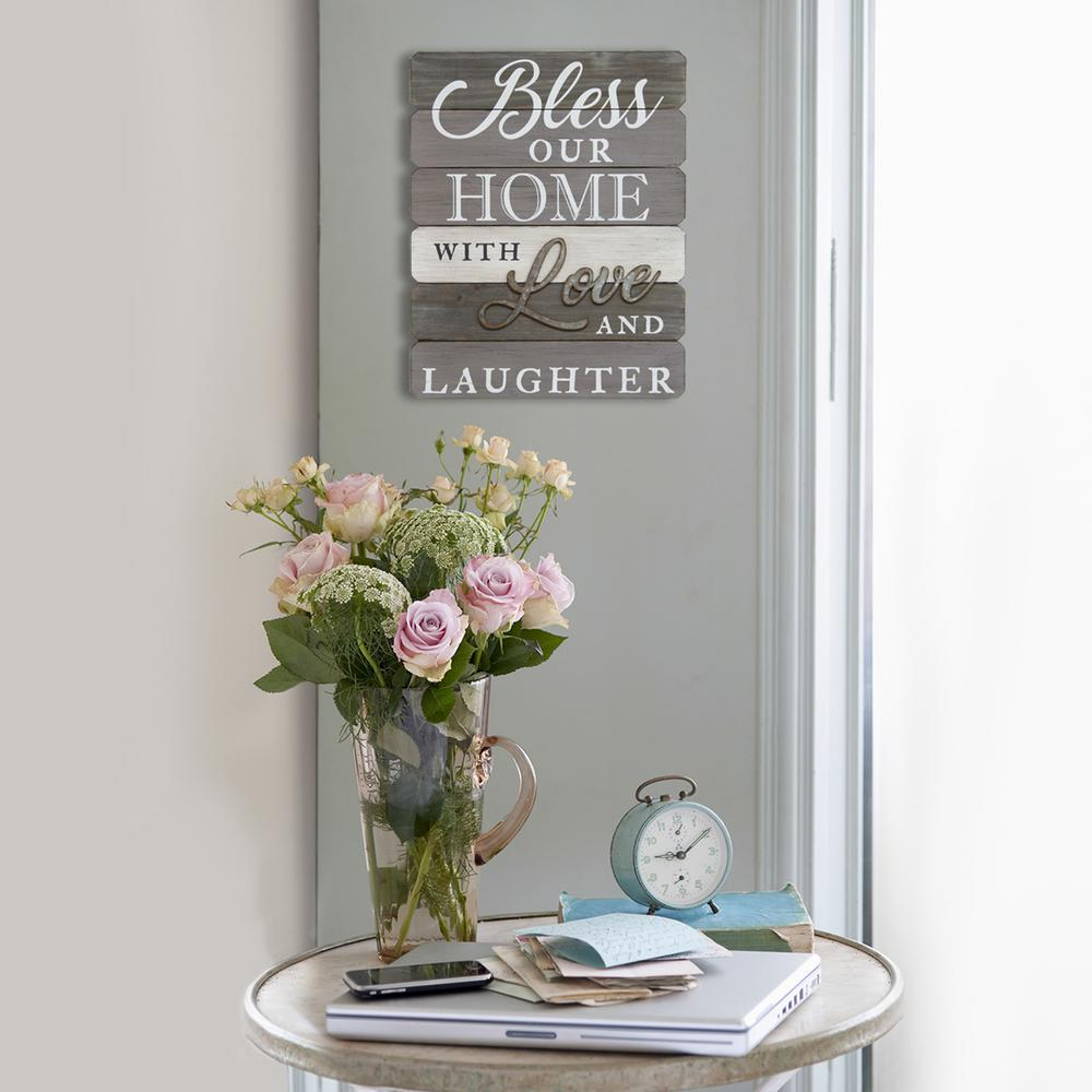 """Blessed Steel Wall Decor Regarding Newest Stratton Home Decor """"bless Our Home With Love And Laughter"""" Wall Art (Gallery 20 of 20)"""