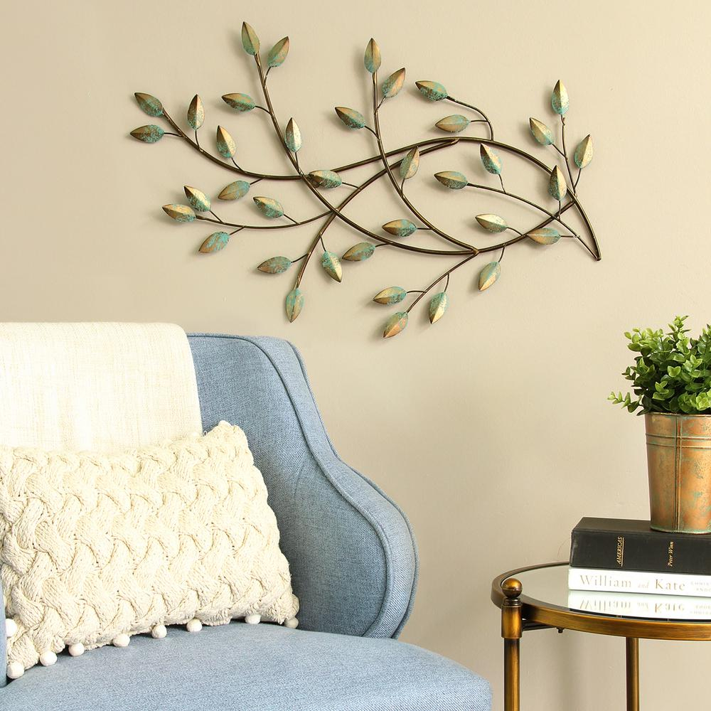 Blowing Leaves Wall Decor In Fashionable Stratton Home Decor Patina Blowing Leaves Metal Wall Decor S (View 8 of 20)