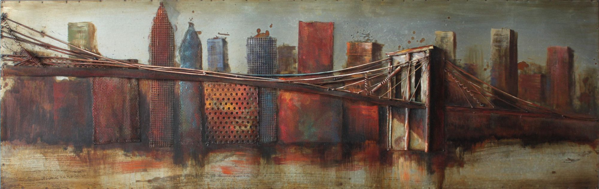 """bridge To The City"" Mixed Media Iron Hand Painted Dimensional Wall Decor Regarding 2020 Bridge To The City 1 Mixed Media Iron Hand Painted Dimensional Wall (View 6 of 20)"