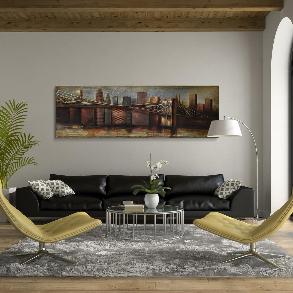 """""""bridge To The City"""" Mixed Media Iron Hand Painted Dimensional Wall Decor Regarding Favorite 22 In. X 72 In (View 3 of 20)"""