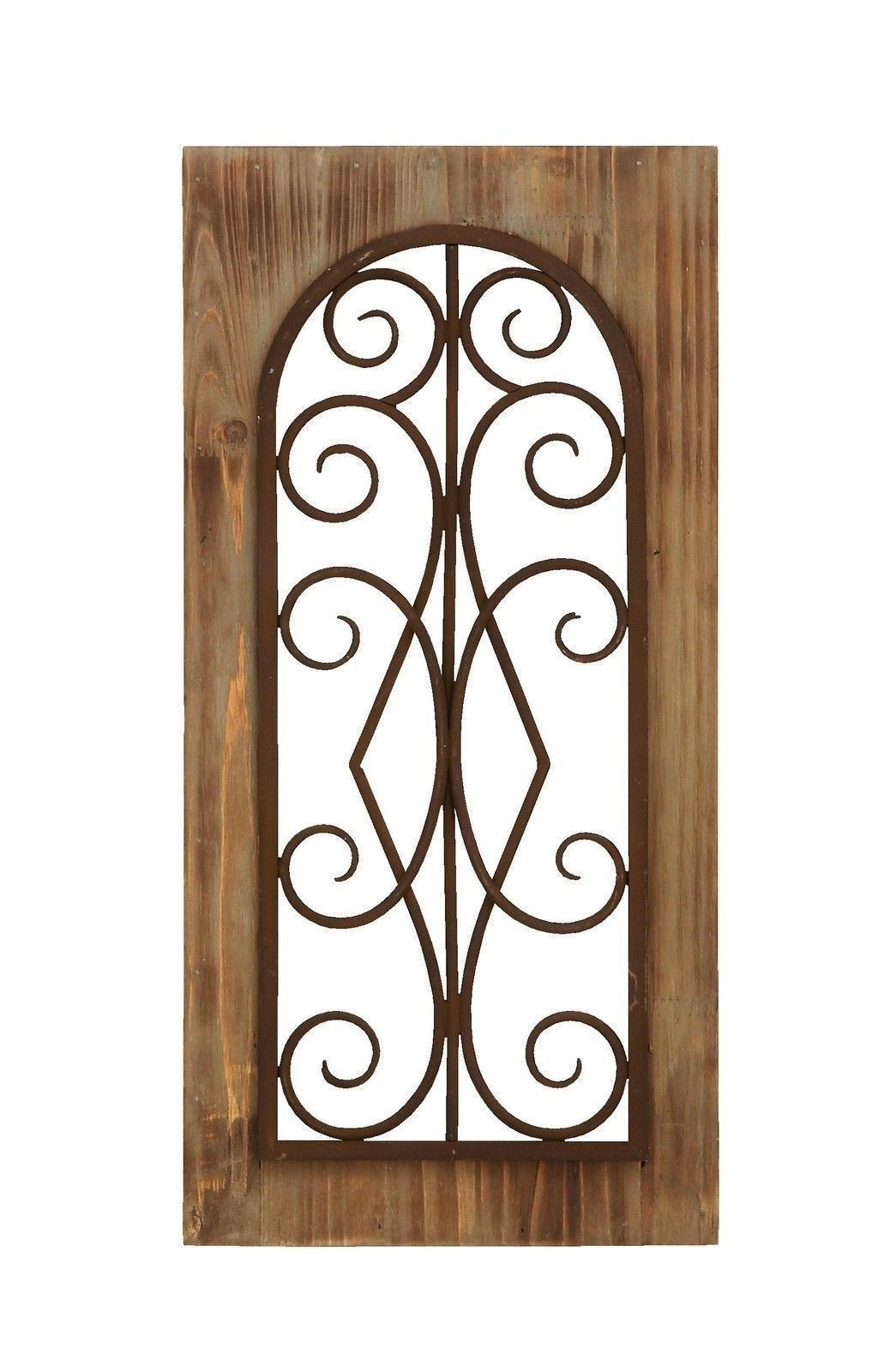 "Brown Wood And Metal Wall Decor In Preferred Rustic Antiqued Wood And Metal Scrollwork Wall Panel 23"" X 11 (Gallery 3 of 20)"
