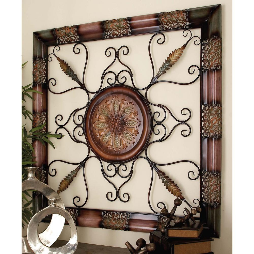 Brown Wood And Metal Wall Decor Intended For Most Current Litton Lane 45 In. X 45 In. Old World Metal Wall Decor With Floral (Gallery 18 of 20)