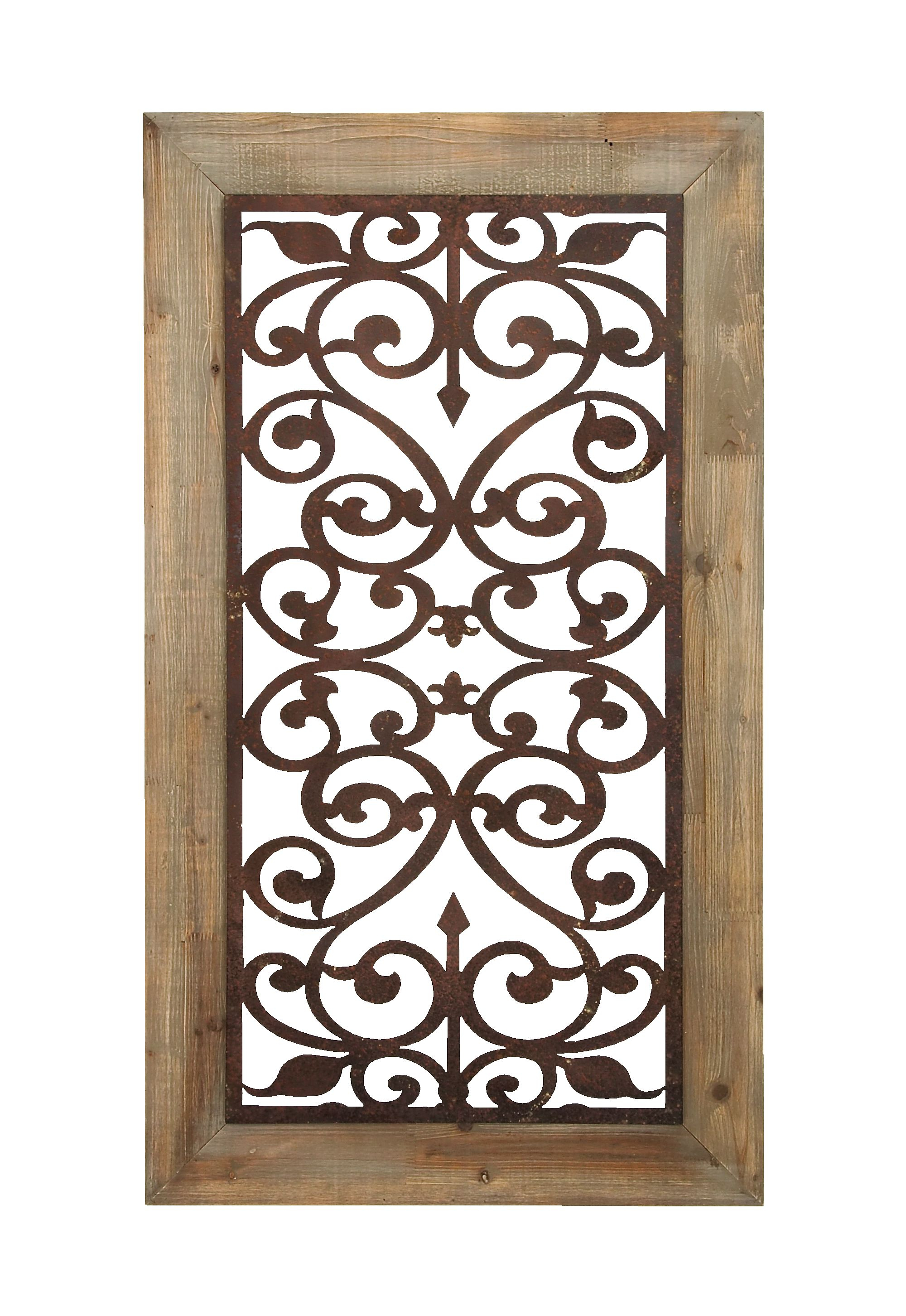 "Brown Wood And Metal Wall Decor Pertaining To Recent Decmode 26"" X 46"" Distressed Wood & Brown Metal Wall Art Panel W (Gallery 8 of 20)"