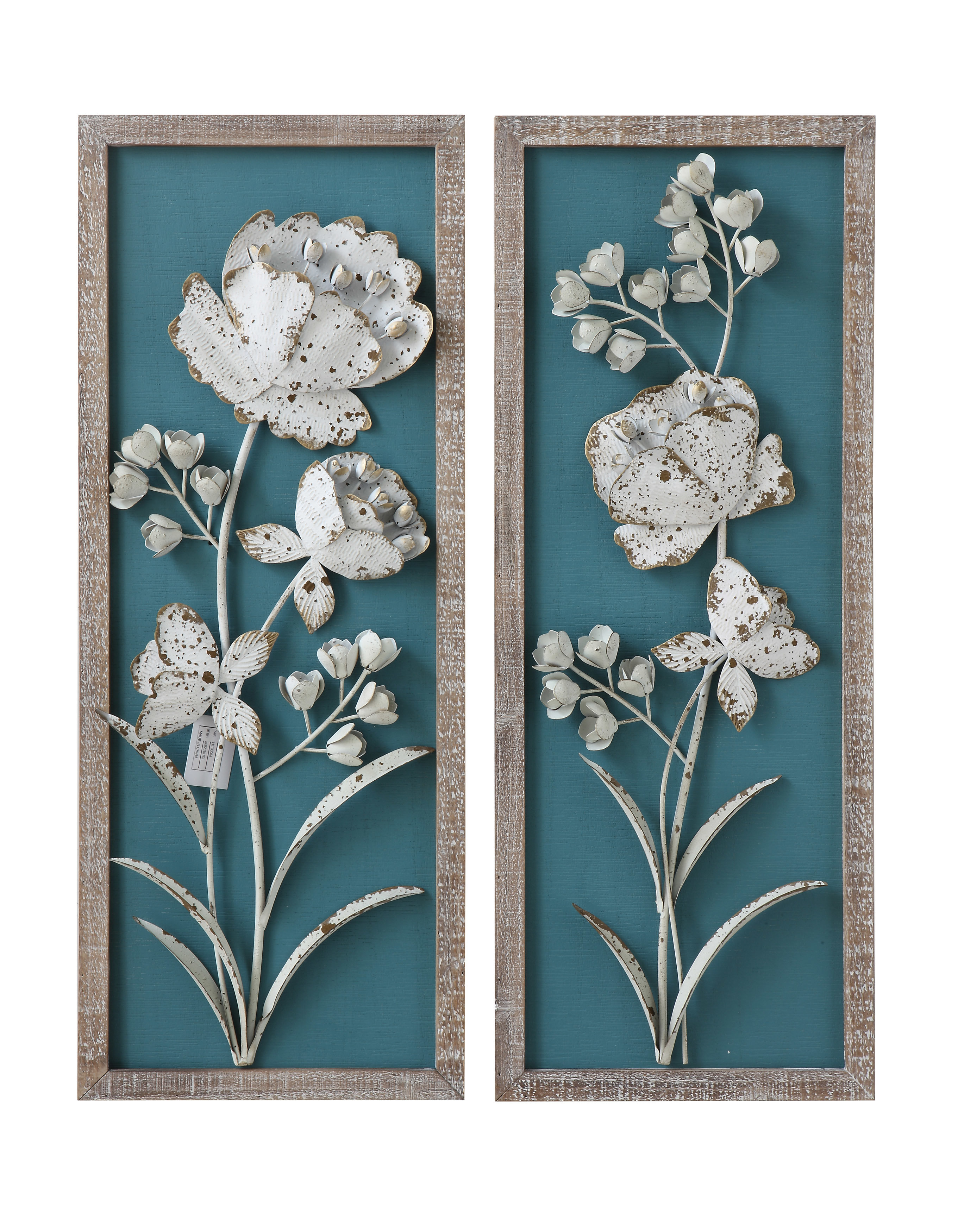 Bungalow Rose 2 Piece Wood With 3 D Metal Flowers Wall Décor Set For 2020 Metal Flower Wall Decor (Set Of 3) (View 1 of 20)