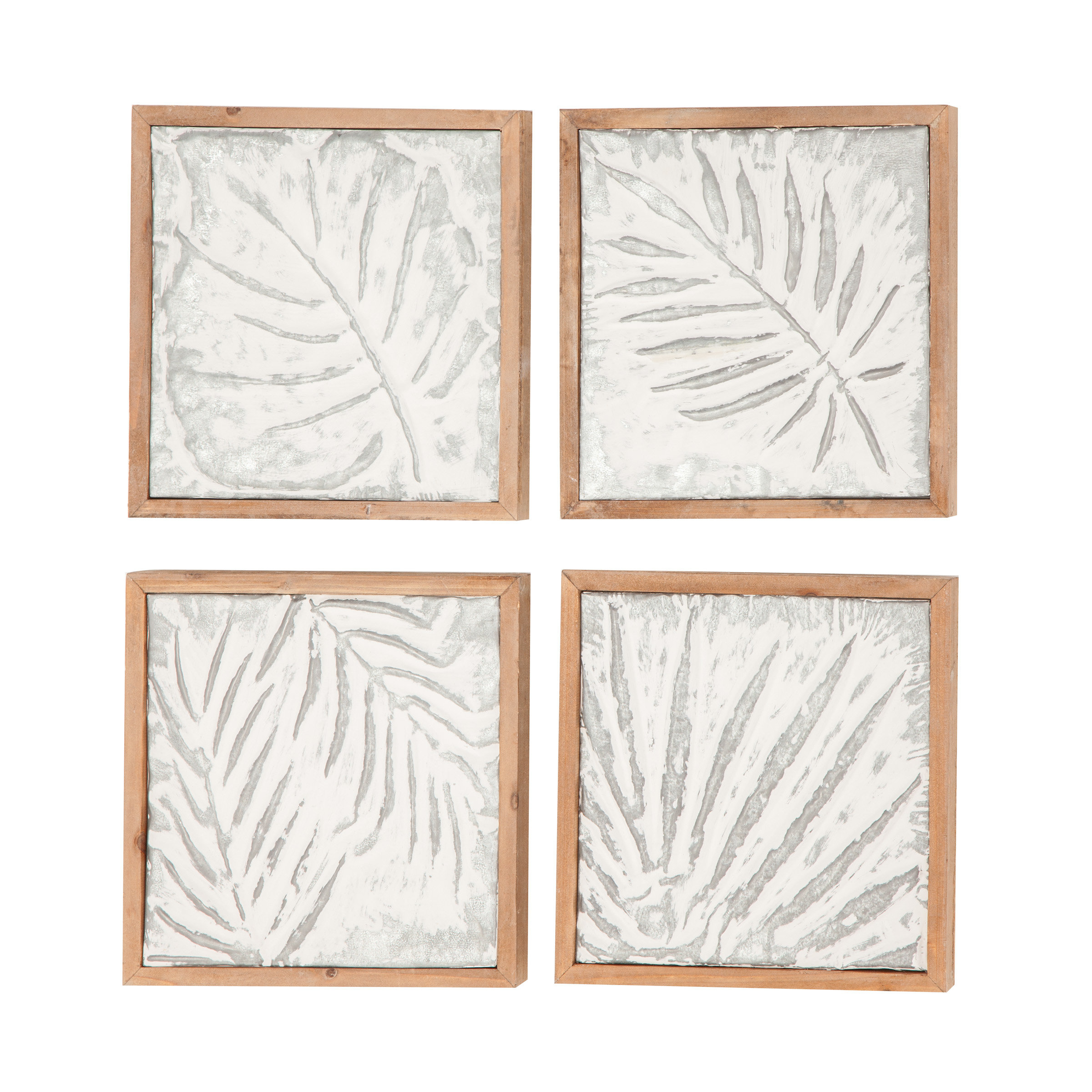 Bungalow Rose Goodfellow 4 Piece Wood Leaf Wall Decor Set & Reviews Regarding Current 4 Piece Metal Wall Plaque Decor Sets (View 4 of 20)