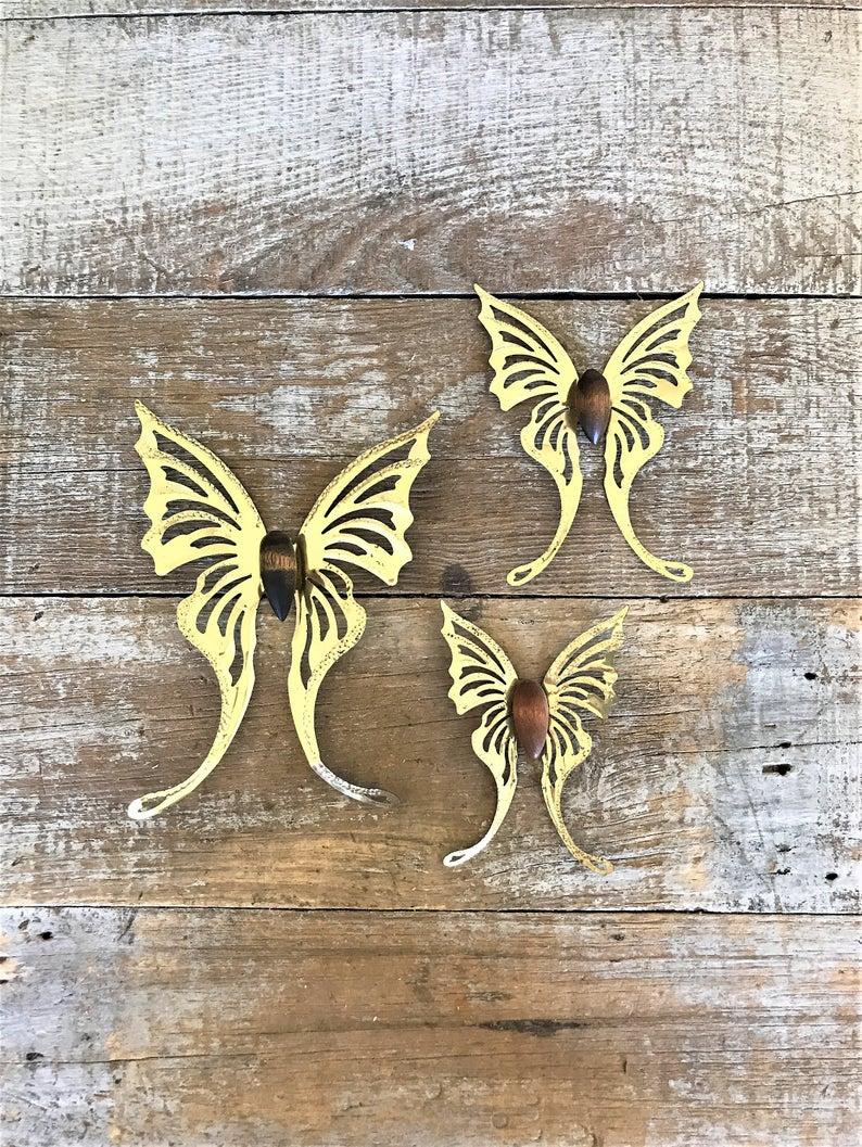 Butterflies 3 Brass Butterfly Wall Hangings Brass Butterflies (View 9 of 20)