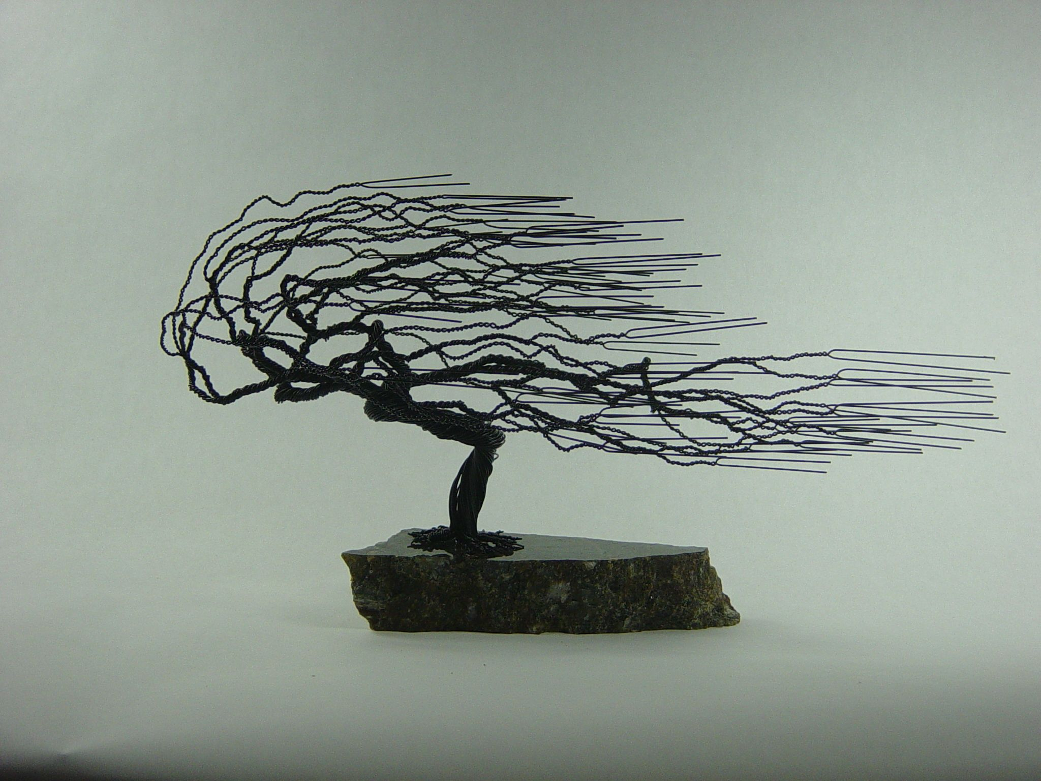 Buy A Hand Made Small Windswept Wire Bonsai Tree Sculpture, Made To Within Trendy Windswept Tree Wall Decor (View 3 of 20)