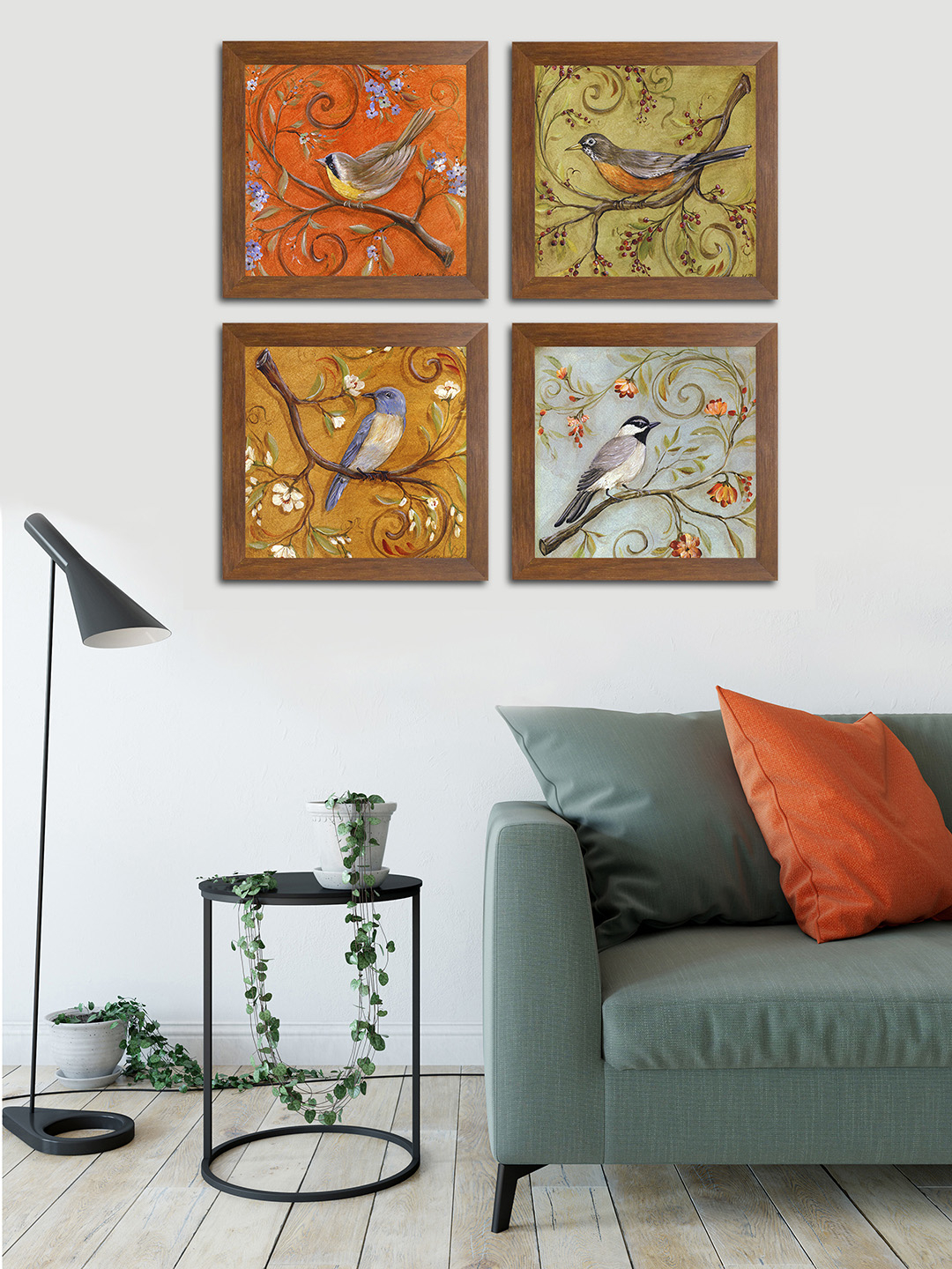Buy Art Street Multicoloured Birds & Animals Printed Set Of 4 Wall With Regard To Most Current 3 Piece Capri Butterfly Wall Decor Sets (View 9 of 20)