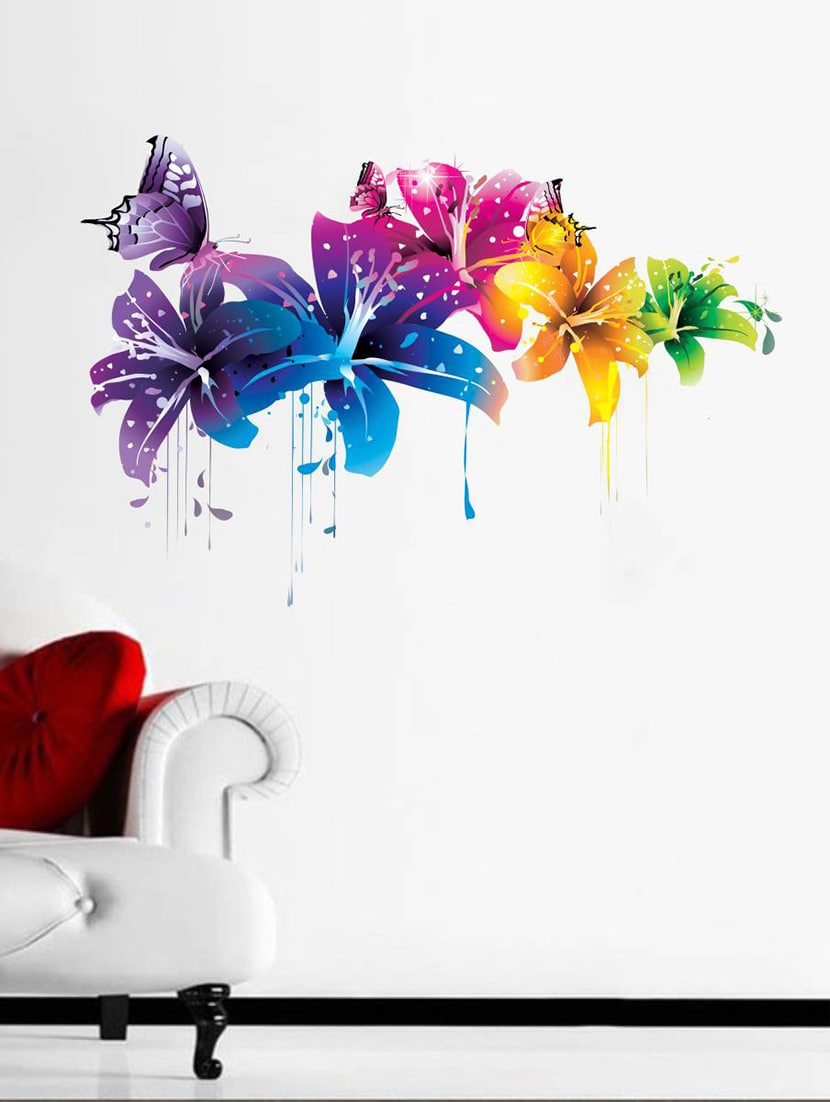 Buy Rawpockets Wall Decals ' Flowers With Butterfly ' Wall Stickers Intended For Fashionable 3 Piece Capri Butterfly Wall Decor Sets (Gallery 14 of 20)