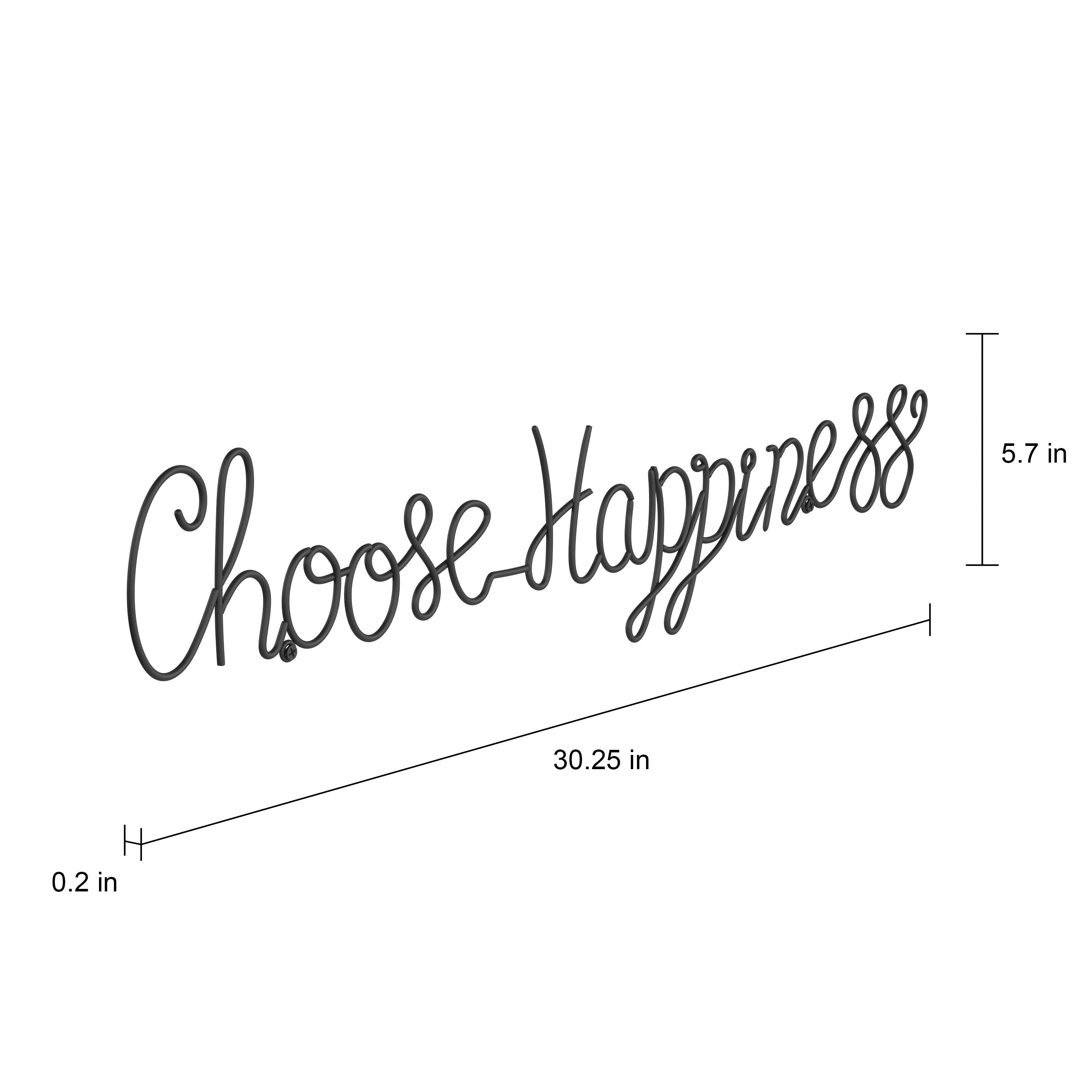 Choose Happiness 3D Cursive Metal Wall Decor Within 2019 Shop Metal Cutout  Choose Happiness Cursive Cutout Sign 3D Word Art (Gallery 3 of 20)