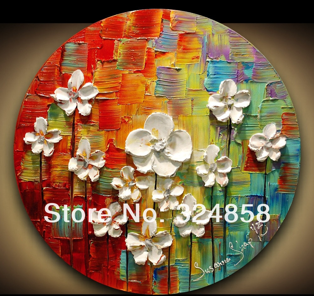 Contemporary Abstract Fine Art Impasto White Flower Modern Palette With Regard To Popular Contemporary Abstract Round Wall Decor (Gallery 13 of 20)