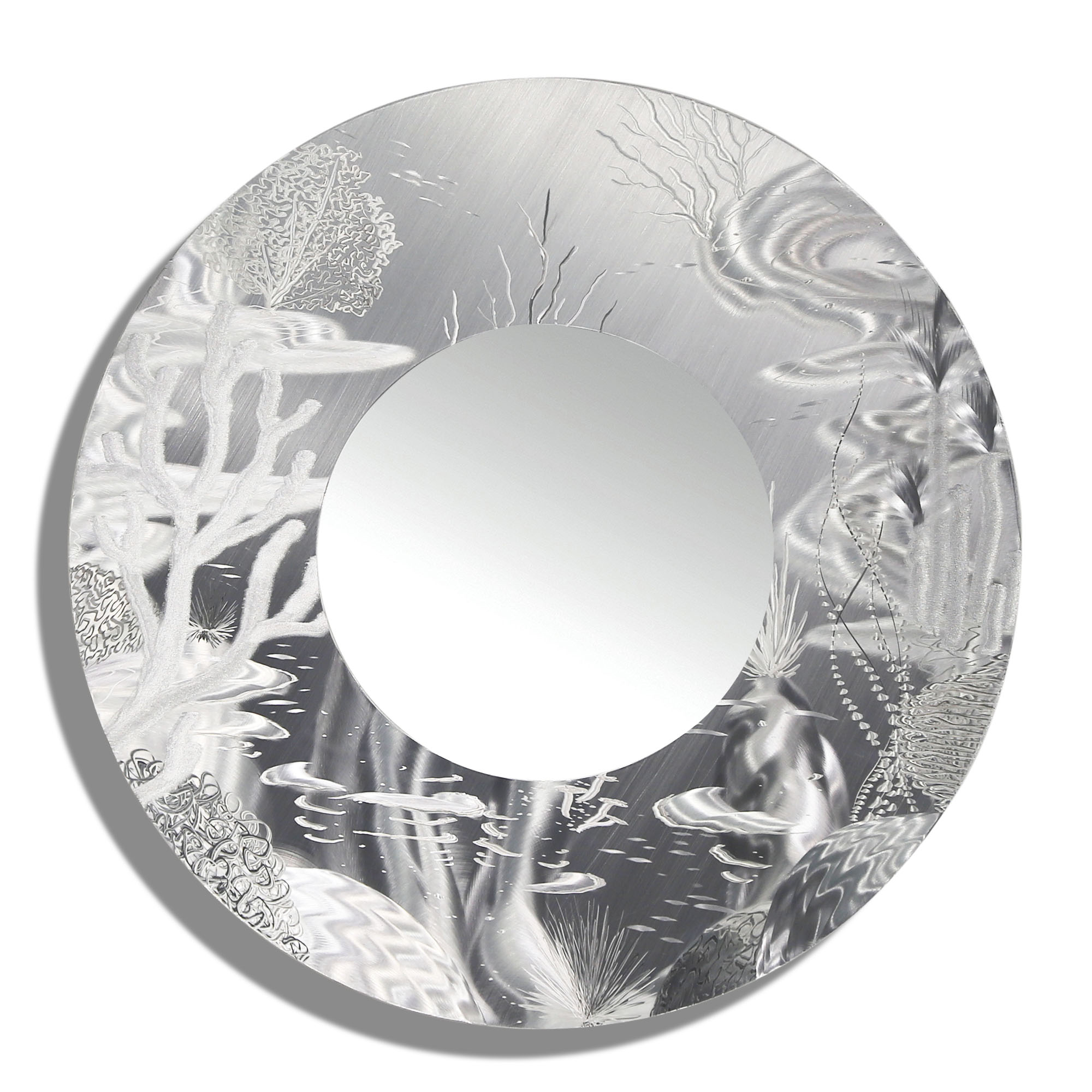 Contemporary Abstract Round Wall Decor Regarding Well Known Mirror 102 – All Natural Silver Abstract Marine Life Circle Wall (Gallery 4 of 20)
