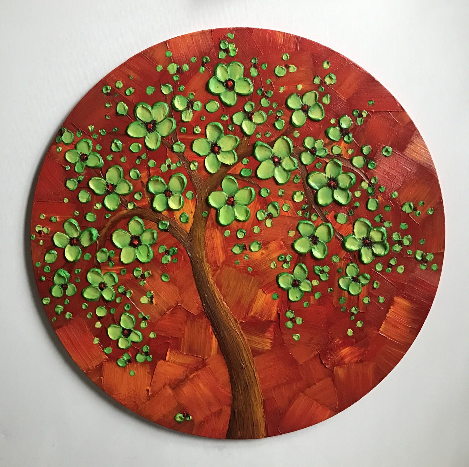 Contemporary Abstract Round Wall Decor With Most Recently Released Abstract Art, Cherry Blossom Tree Painting, Round Wall Decor (Gallery 18 of 20)