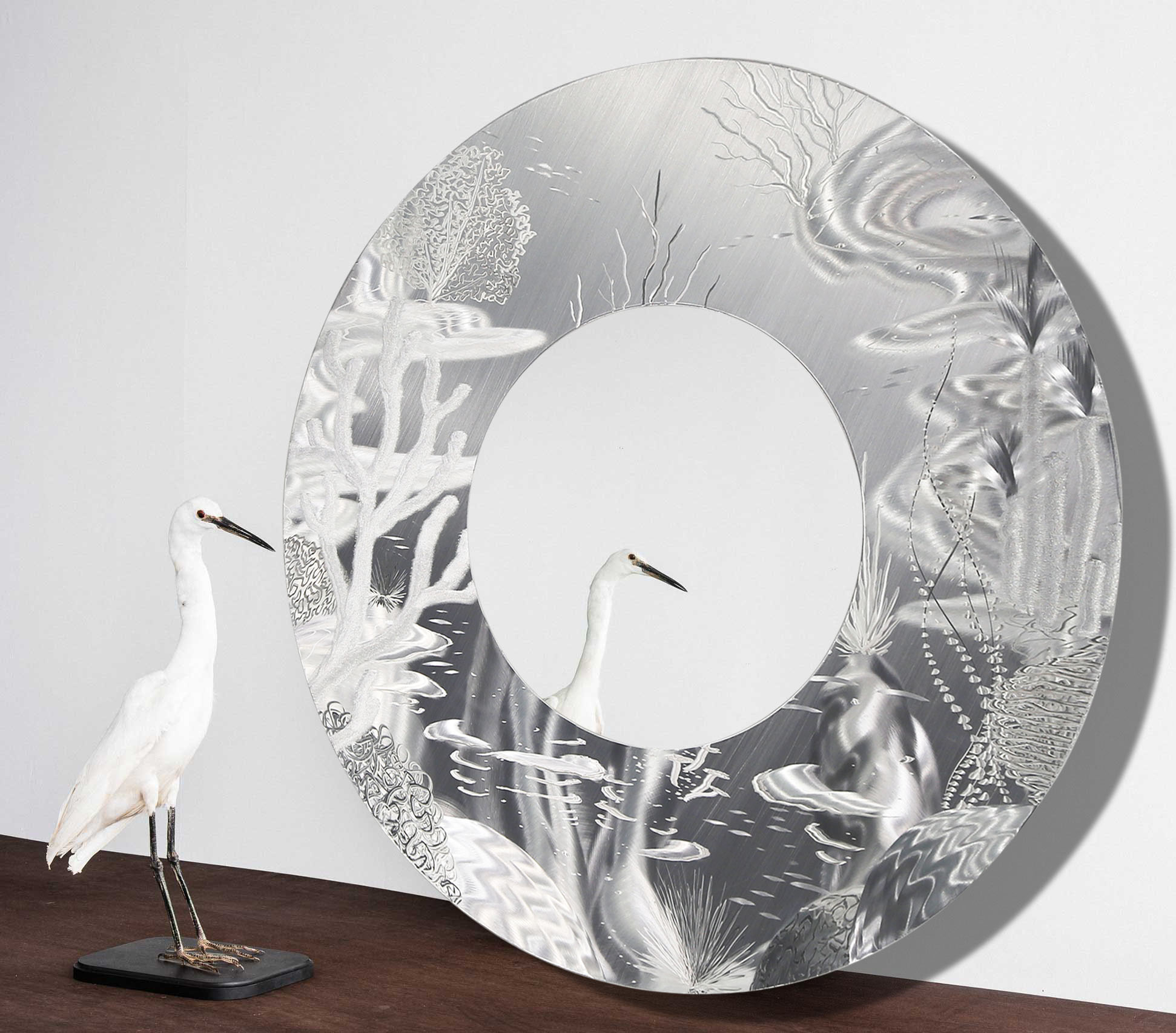 Contemporary Abstract Round Wall Decor Within Famous Mirror 102 – All Natural Silver Abstract Marine Life Circle Wall (View 2 of 20)