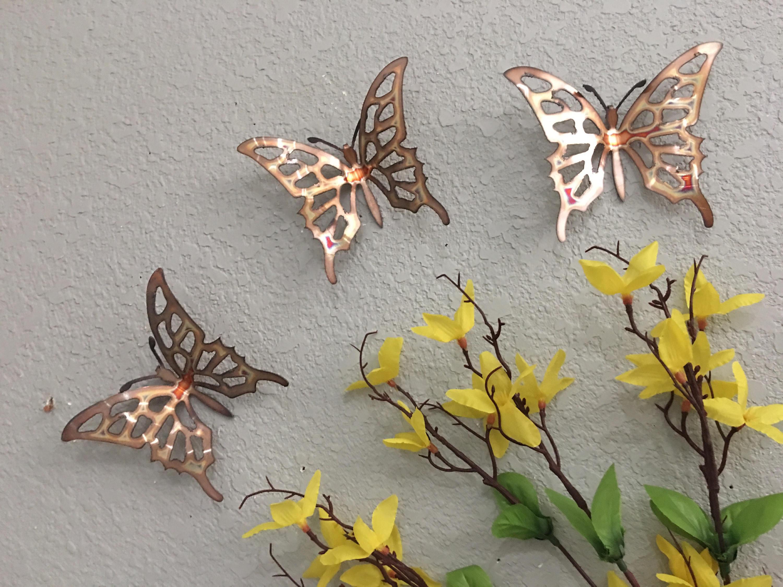Copper Butterflies Set Of 3 Butterflies Wall Art Metal (Gallery 4 of 20)
